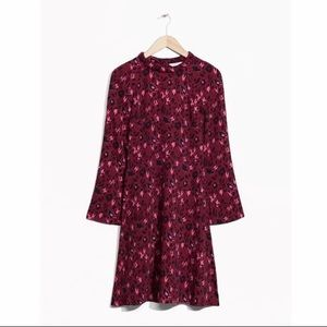 & Other Stories Maroon Cheetah Print Dress size 8